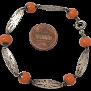 Vintage  Sterling Silver Coral Glass Bracelet
