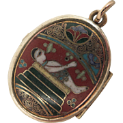 Early 1900s Cloisonne Enamel Photo Locket