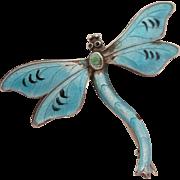 Circa 1900 Sterling Silver Enamel Dragonfly Brooch