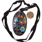 Arts and Crafts Copper Enamel Pendant Slide Necklace