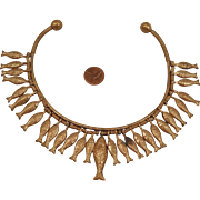 Vintage Egyptian Fish Collar Necklace