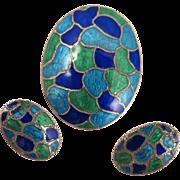 Vintage Sterling Silver Enamel Pendant and Earrings Set