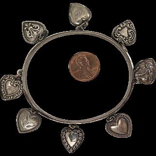 Victorian Sterling Silver Heart Charm Bracelet