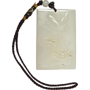 Chinese Peking Glass Jade Pendant with Lotus and Crane