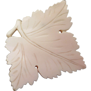 Victorian Carved Shell Grape Leaf Brooch