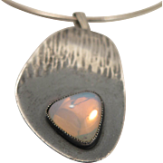 Mod Vintage Sterling Silver Opalite Pendant Necklace
