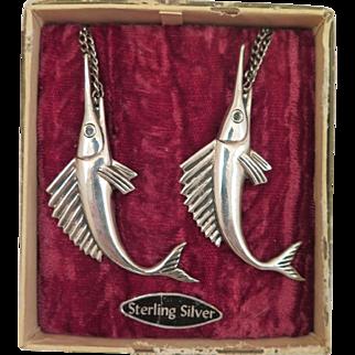 Vintage Sterling Silver Sailfish Brooch Pair