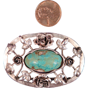 Antique Sterling Silver Turquoise Brooch