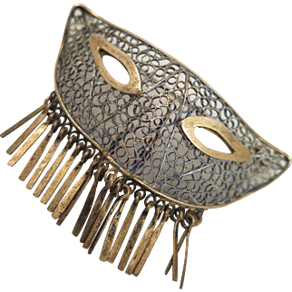 Early 1900s Sterling Silver Filigree Mask Brooch