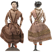 1850s All Original Papier Mache Doll 7 inches