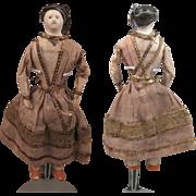 1850s All Original Papier Mache Doll 7 inches