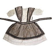 Antique Silk Check Pinafore and White Cotton Doll Dress Set 20 to 22 inch