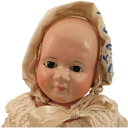1860s German Wax Over Papier Mache Taufling Motschmann Doll 13.5 inch