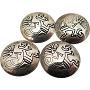 4 Vintage Sterling Silver Topped Kokopelli Button Covers