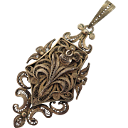 Antique Gilded Sterling Filigree Locket Pendant