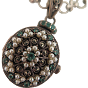 Victorian Sterling Jeweled Locket Pendant on Chain