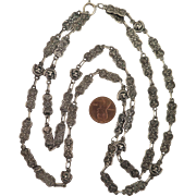 Antique 38 inch 900 Silver Decorative Chain