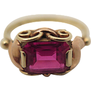 Vintage 14K Rose and Yellow Gold French Synthetic Ruby Ring size 7.5