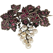 Victorian Grapes and Leaves Ruby and Pearl 900 Silver Brooch