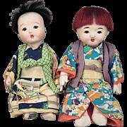 Vintage Japanese Ichimatsu Doll Pair 6.5 inches