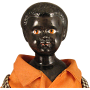 Antique German Black China Head Doll 10 inch