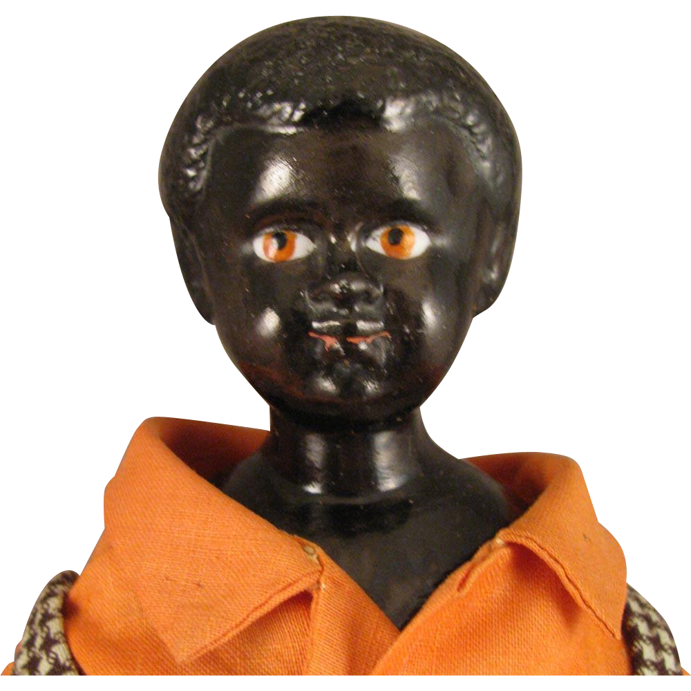 Antique German Black China Head Doll 10 Inch Virtu Doll