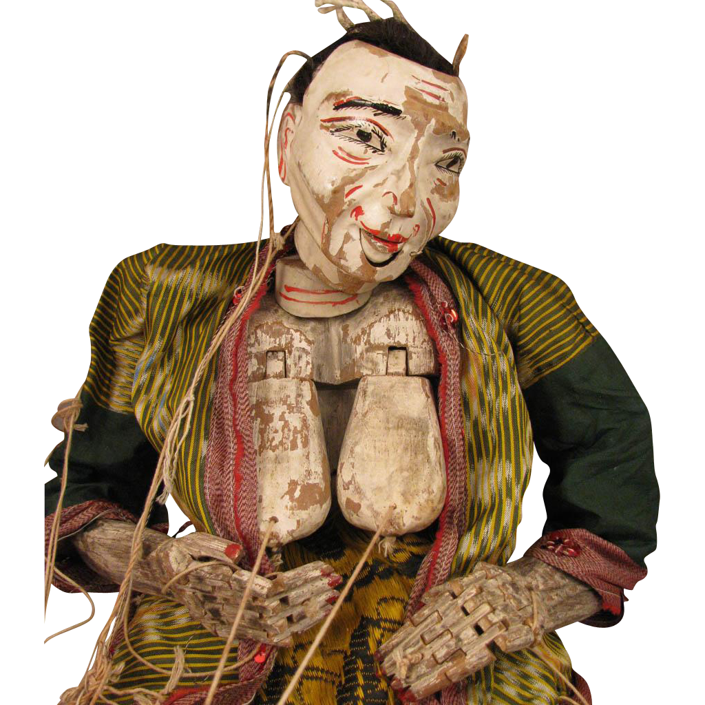 24 inch Antique Myanmar Burma Wood Puppet Doll Old Woman with Breasts