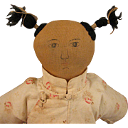 """Early 1900s Chinese Cloth Mission Doll 13"""""""