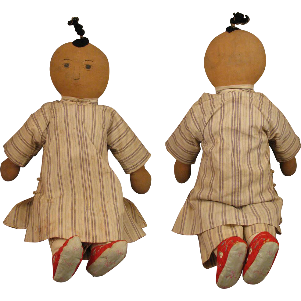 21 Inch Early 1900s Chinese Mission Cloth Doll From Virtu