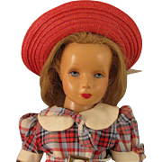 1940s Monica Studios 17 inch Composition Doll with Rooted Human Hair