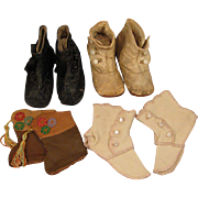 SALE Group of 4 Antique Doll Baby Shoes for Large Doll