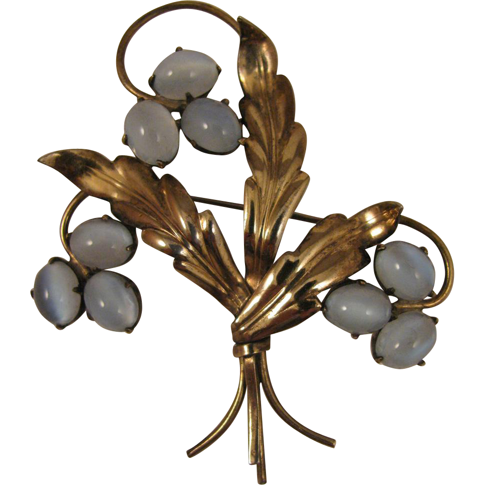 1940s W. E. Richards Co. Symmetalic Sterling and 14K Moonstone Brooch