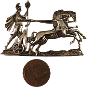 Vintage Sterling Silver Roman Chariot Horses Brooch