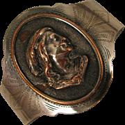 Antique Sterling + Copper Cameo Relief Bracelet Cuff