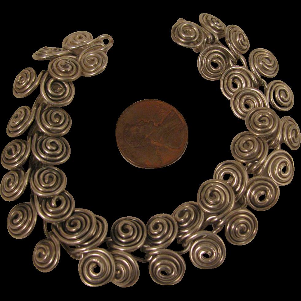 Vintage Sterling Silver Spirals Bracelet