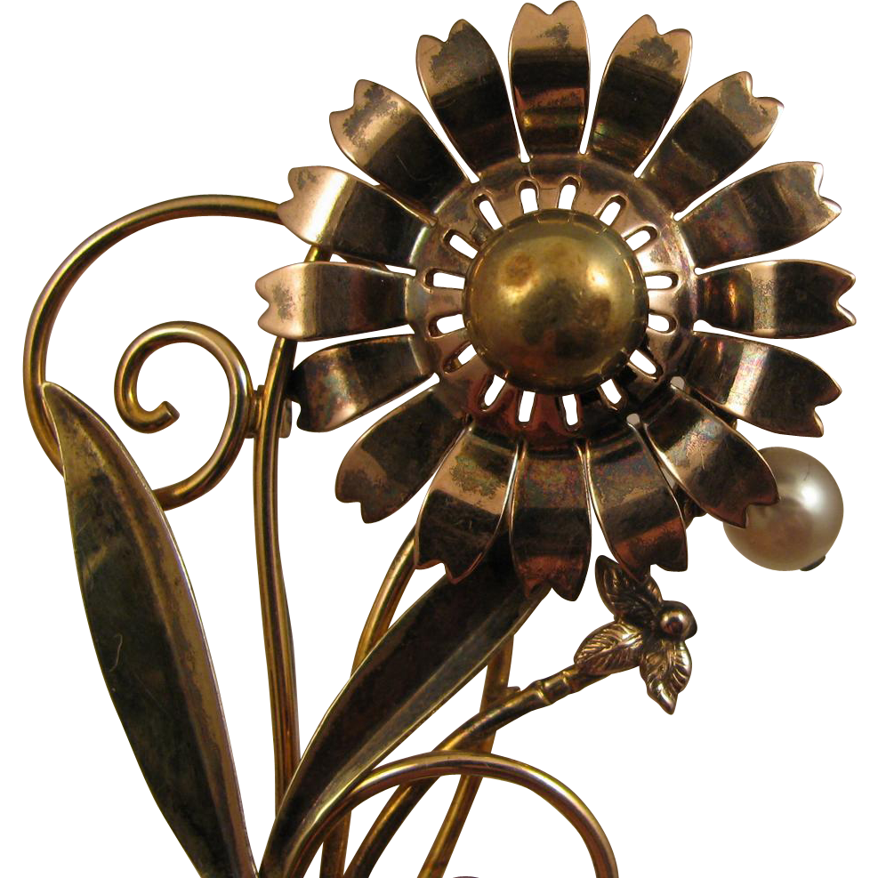 Walter Lampl 1940s Sterling Vermeil Flower w/ Cultured Pearl Brooch
