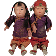 Vintage Chinese Composition Boy Girl Doll Pair