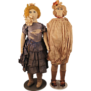 Pair 1920s French Cloth Dolls 19 inches