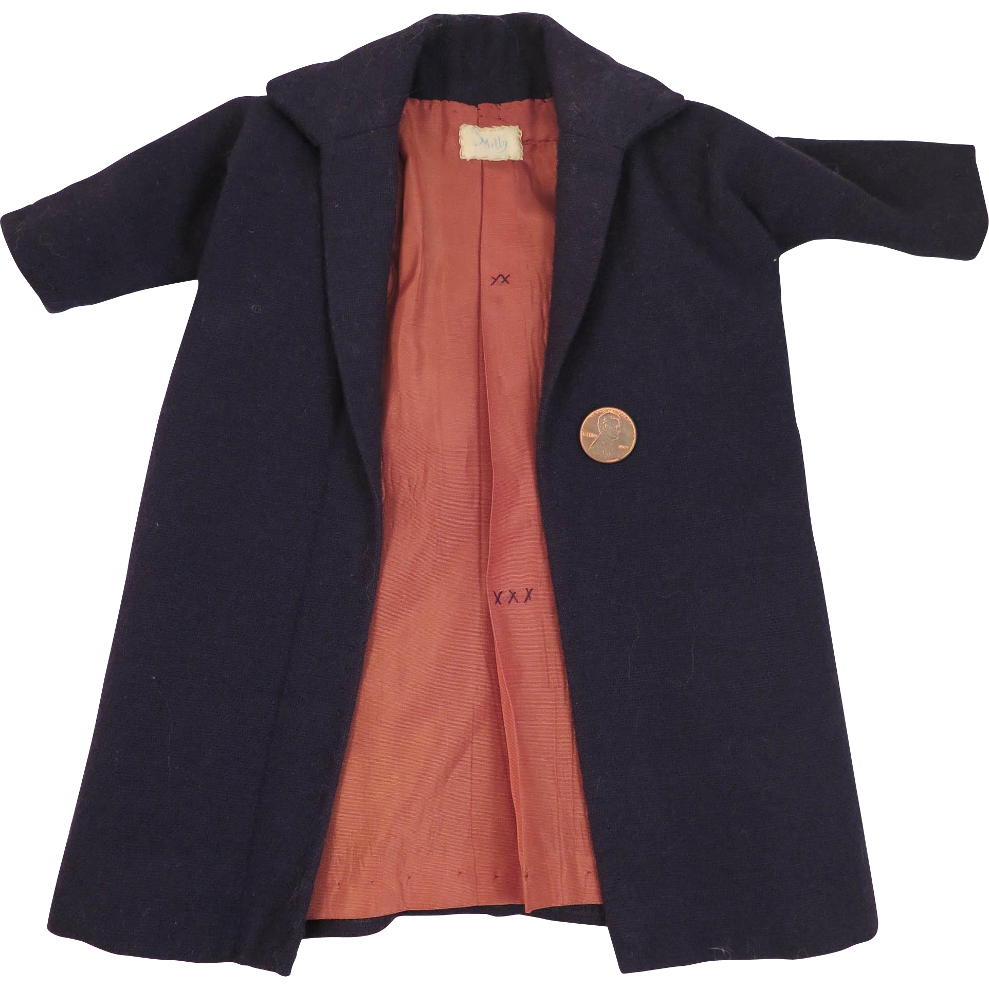 Vintage Milly Navy Wool Coat for 16-18 inch Doll