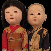 1940s-50s Japanese Ichimatsu Pair Dolls 14 inch