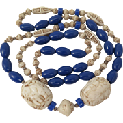 1920s Max Neiger Czech Bead Necklace with Elephants
