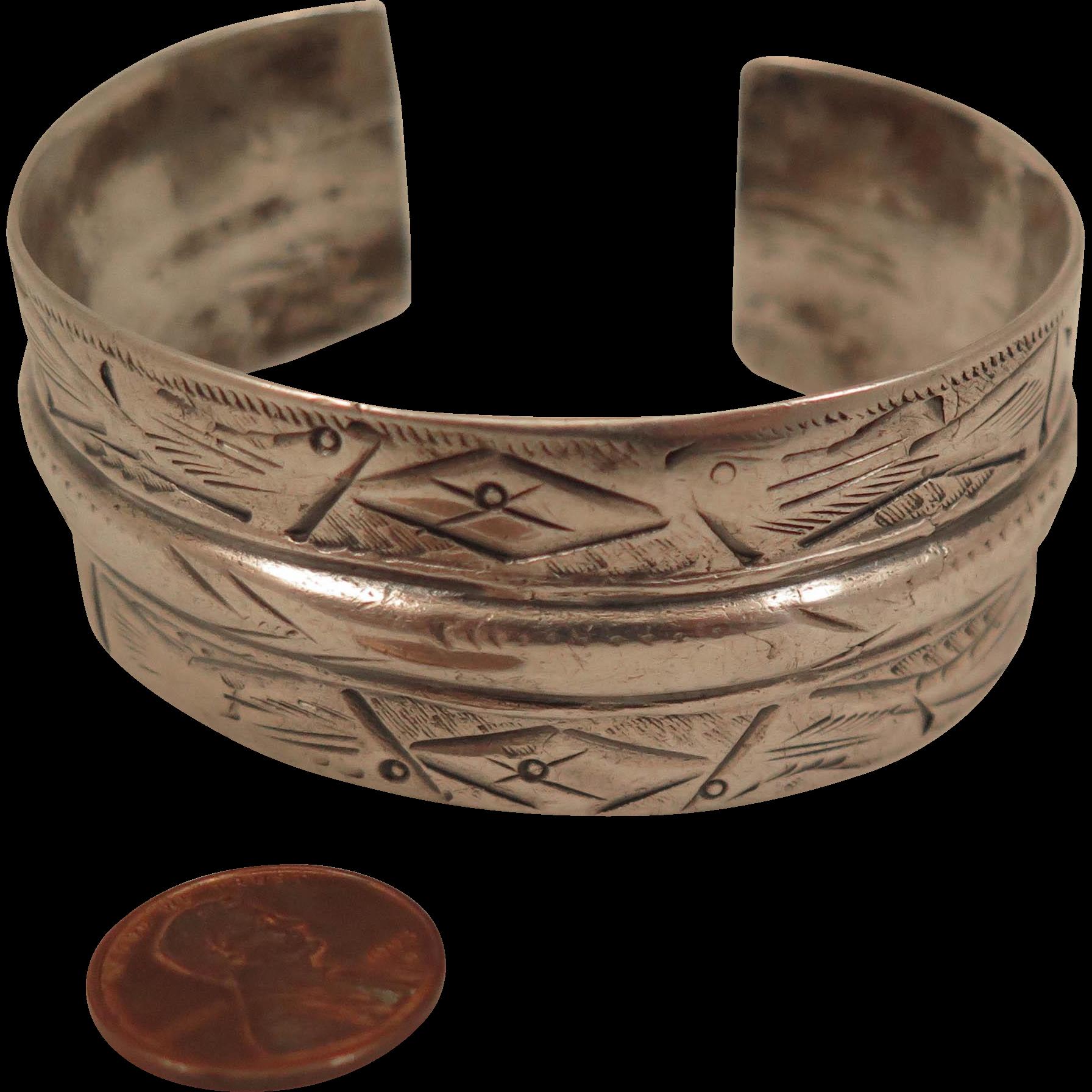 Antique Sterling Silver Ottoman Empire Bracelet Cuff