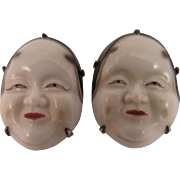 Japanese Toshikane Porcelain Noh Mask Earrings