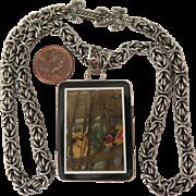 Vintage Artisan Pietra Dura Pendant Chain Necklace