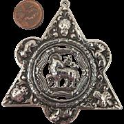 Masonic Sterling Silver Agnus Dei Hexagram Pendant