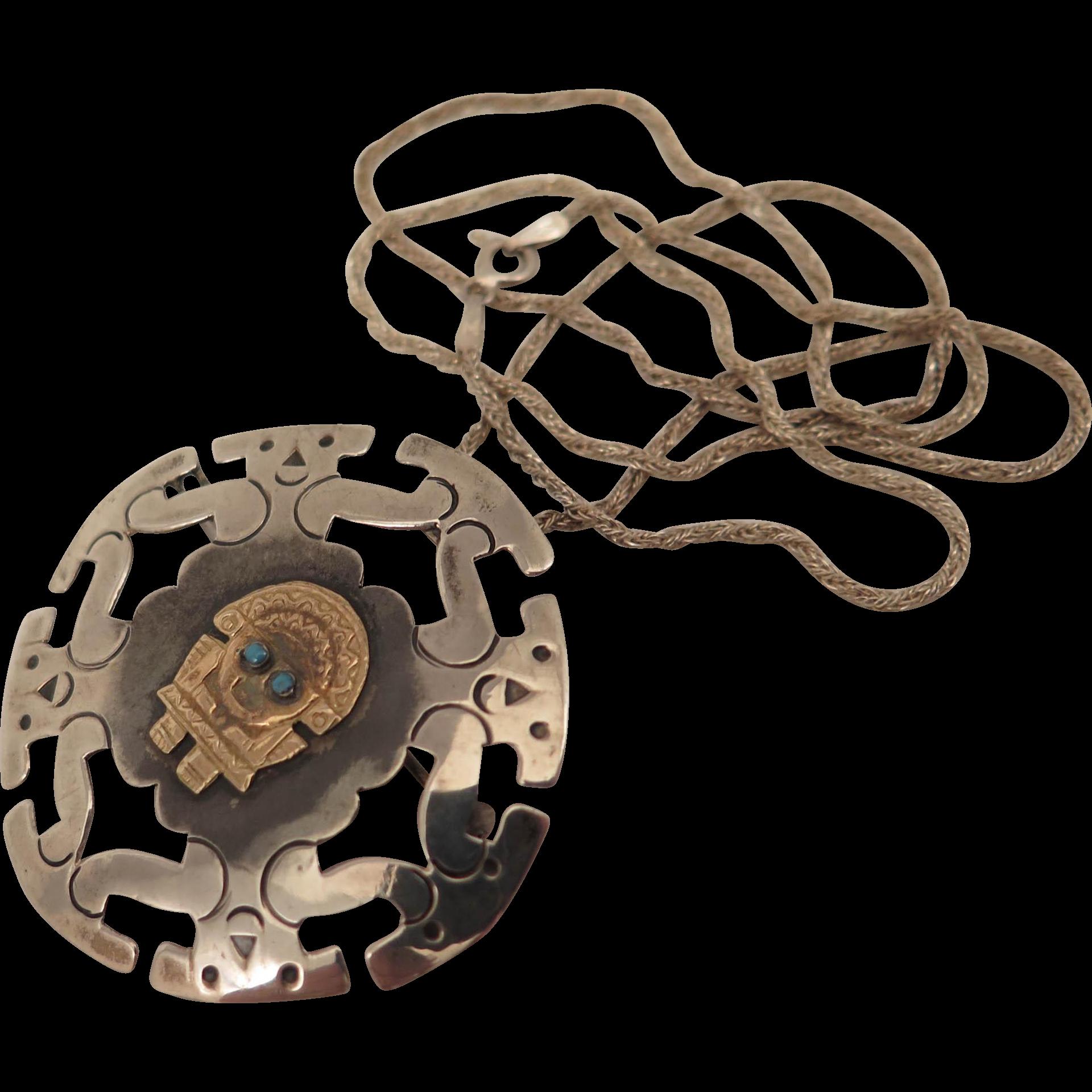 Vintage Sterling Silver 18K Aztec Pendant Brooch Necklace