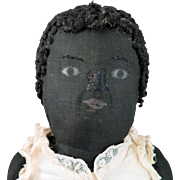 Circa 1900 Black Cloth Doll 17 inches