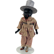Antique Black Papier Mache Doll with Top Hat 7.5 inch