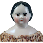 1850s-60s Brown Eyed Greiner Covered Wagon China Doll 13.5 inches