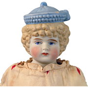 Antique Hertwig Bisque Doll with molded Blue Hat 16 inches
